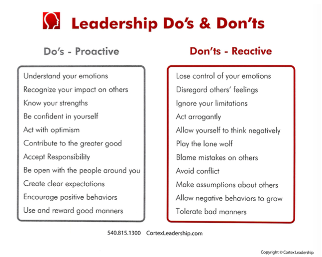 Leadership do's and don'ts